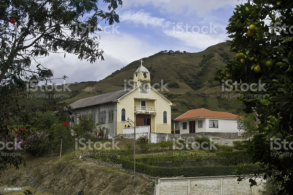 Church in the Andes stock photo