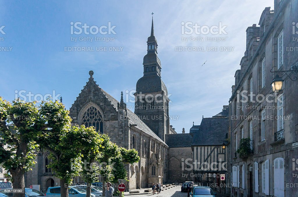 Church in the City of Dinan, Brittany, France stock photo
