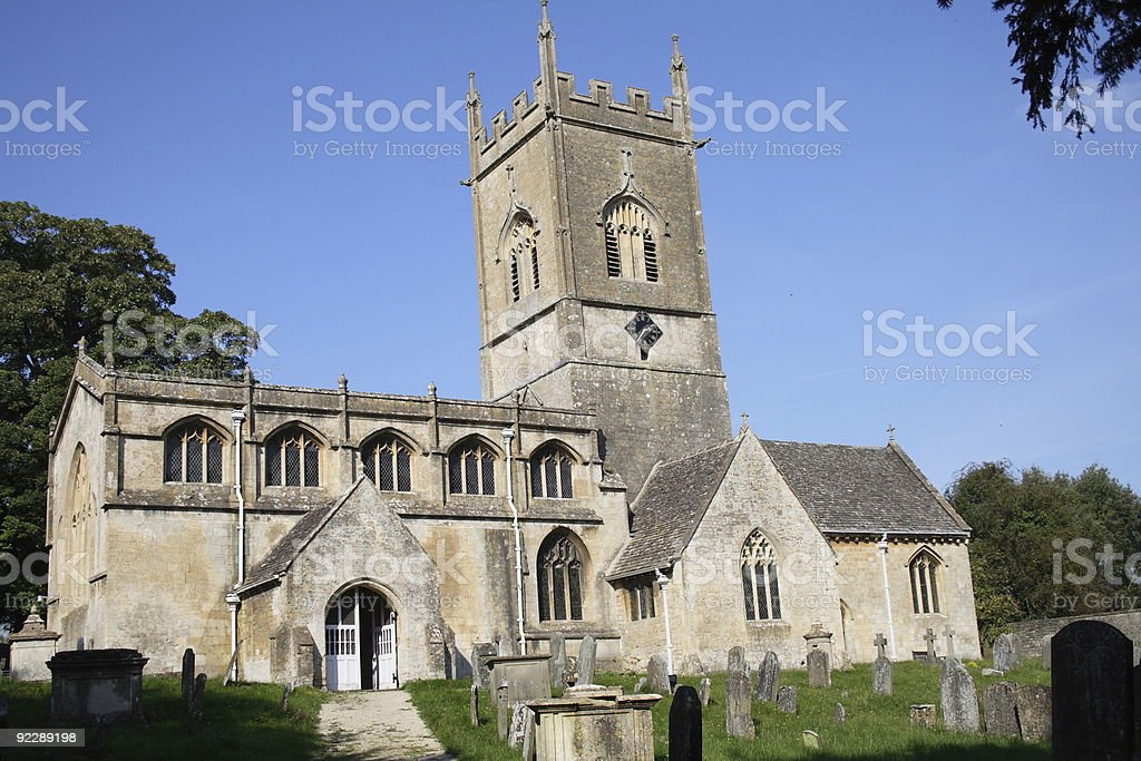 Church in the Cotswold stock photo