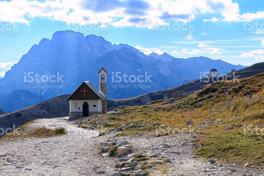 Church in the Dolomite Mountains, Tre Cime di Lavaredo stock photo