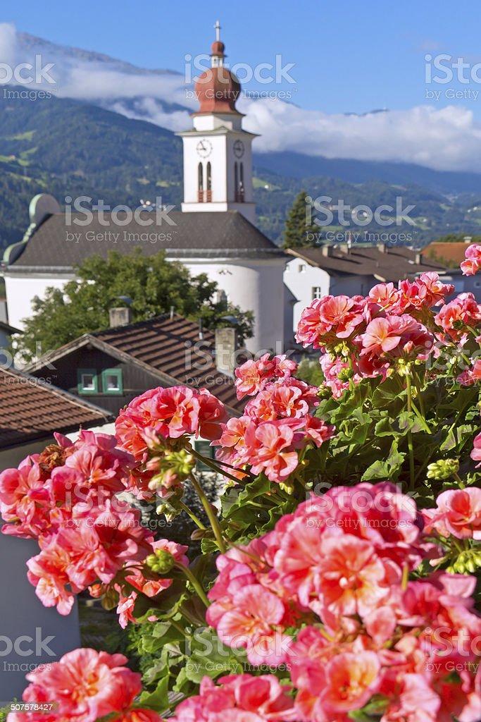 Church in the European Alps stock photo