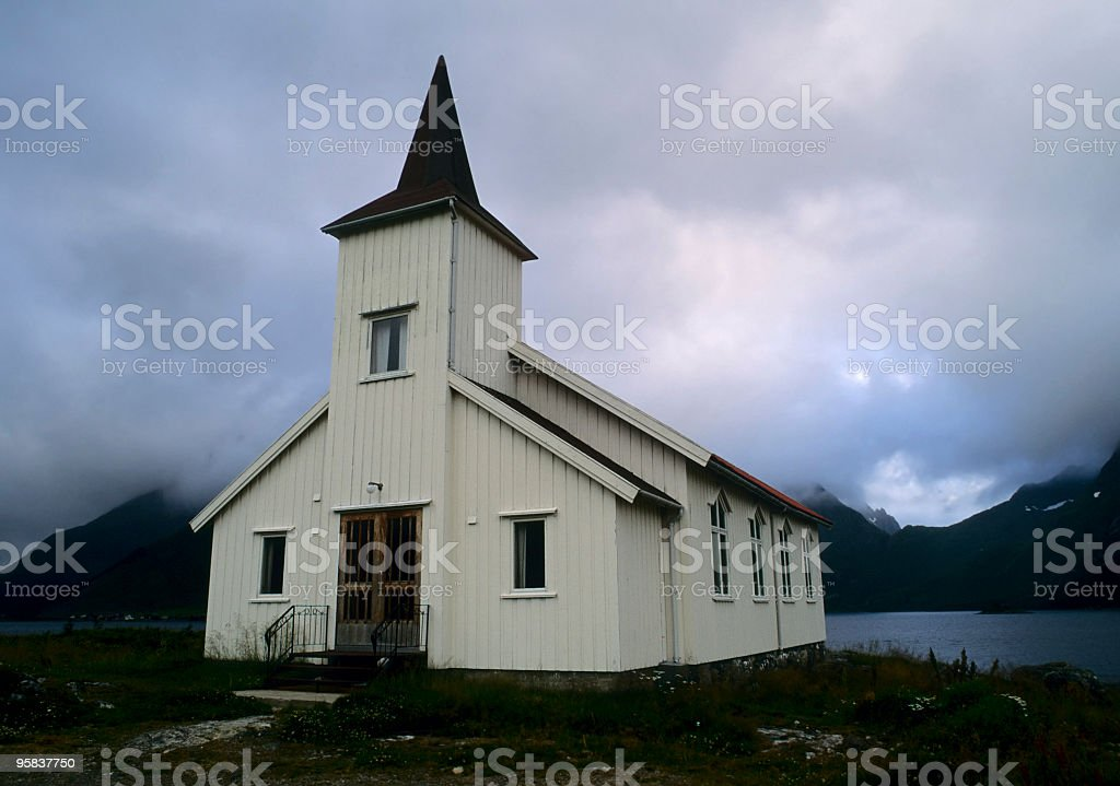 Church in the fog at midnight royalty-free stock photo