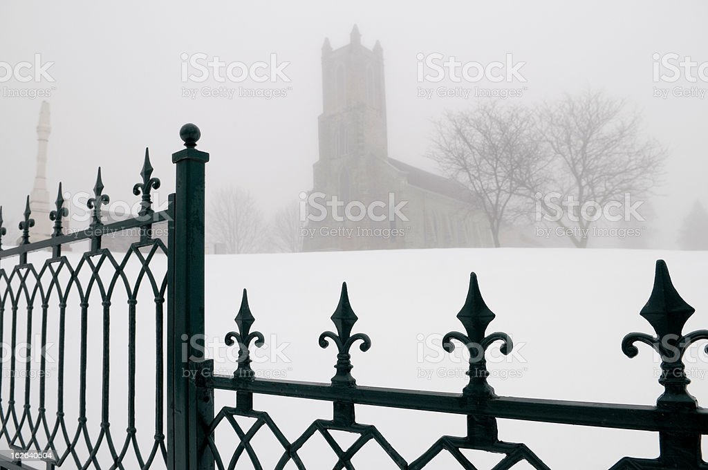 Church in the Fog royalty-free stock photo