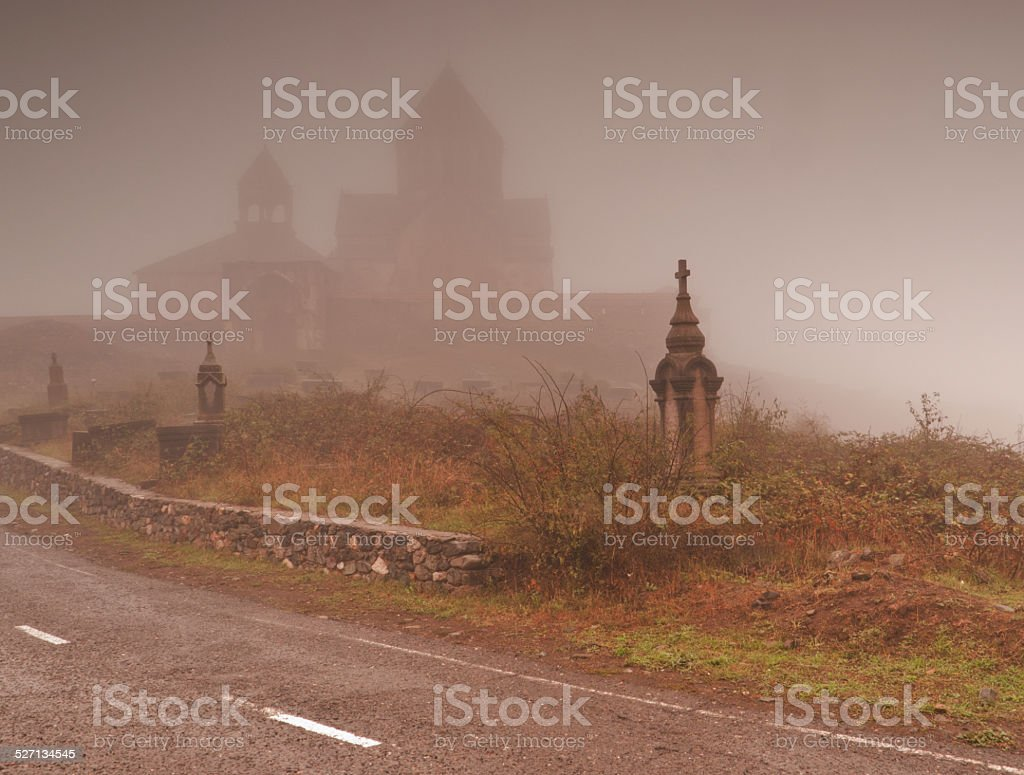 Church in the fog stock photo