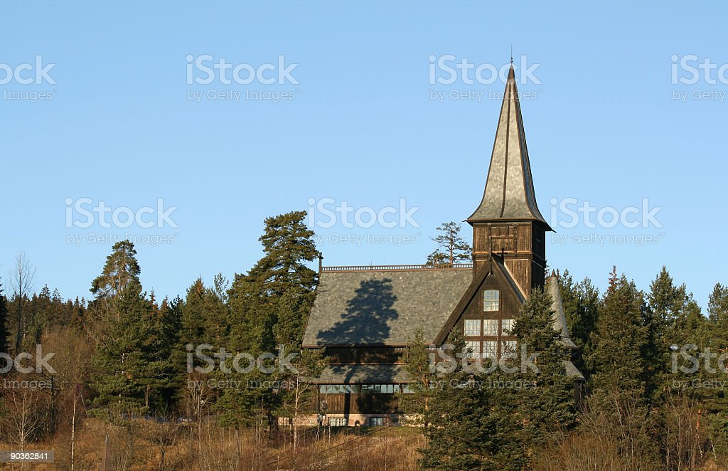 Church in the forest-Holmenkollen Kapell stock photo