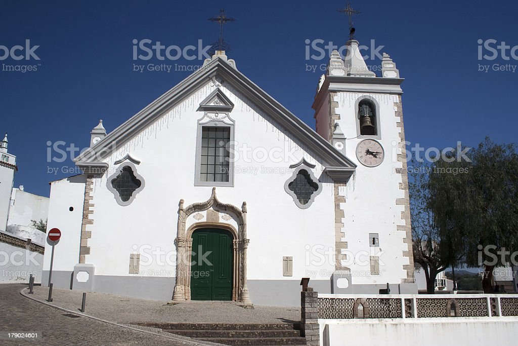 Church in the hilltop village of Alte, Portugal stock photo