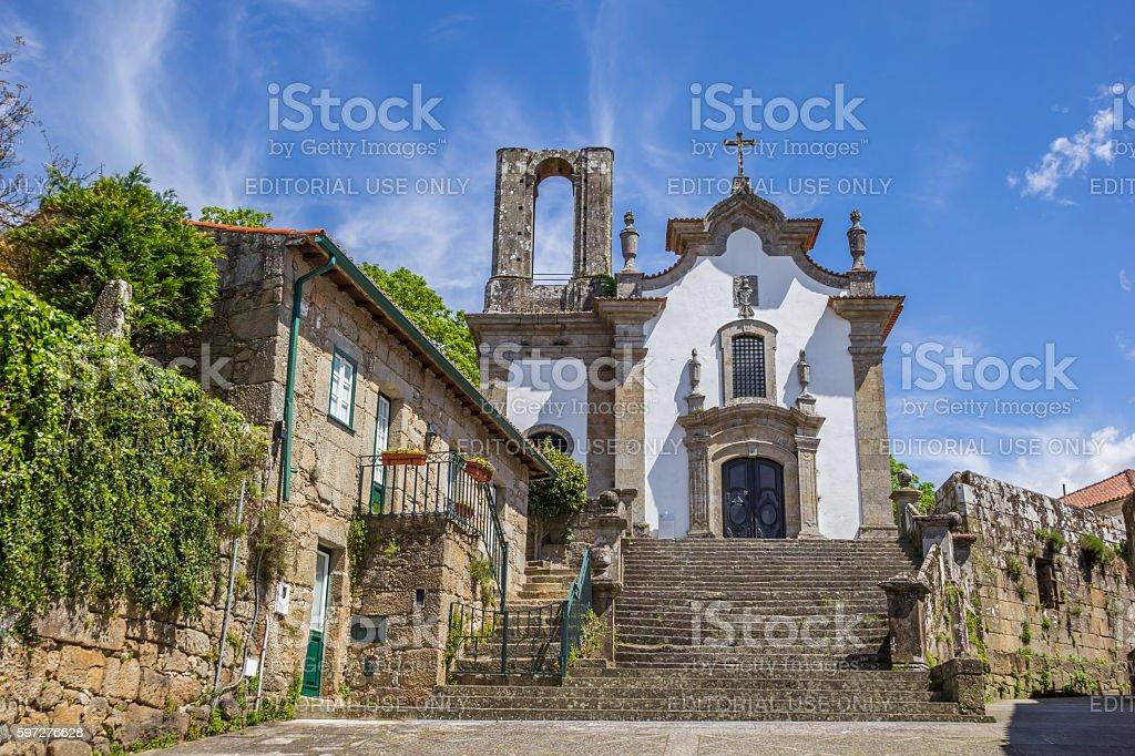 Church in the historical center of Ponte de Lima stock photo