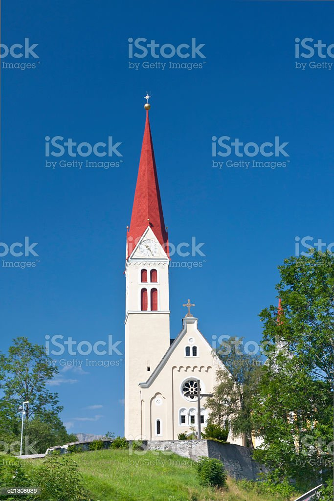 Church In The Lechtal Alps, Austria stock photo