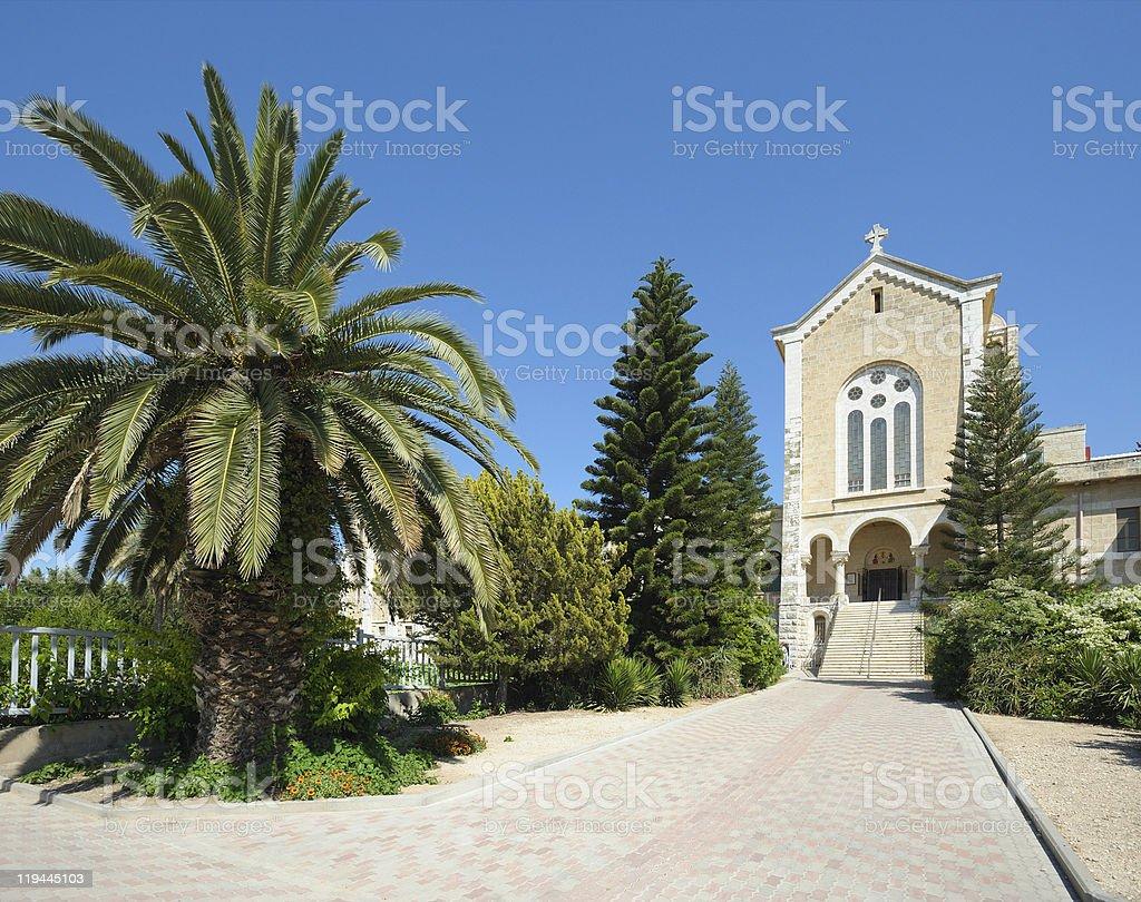 Church in the monastery Latrun stock photo