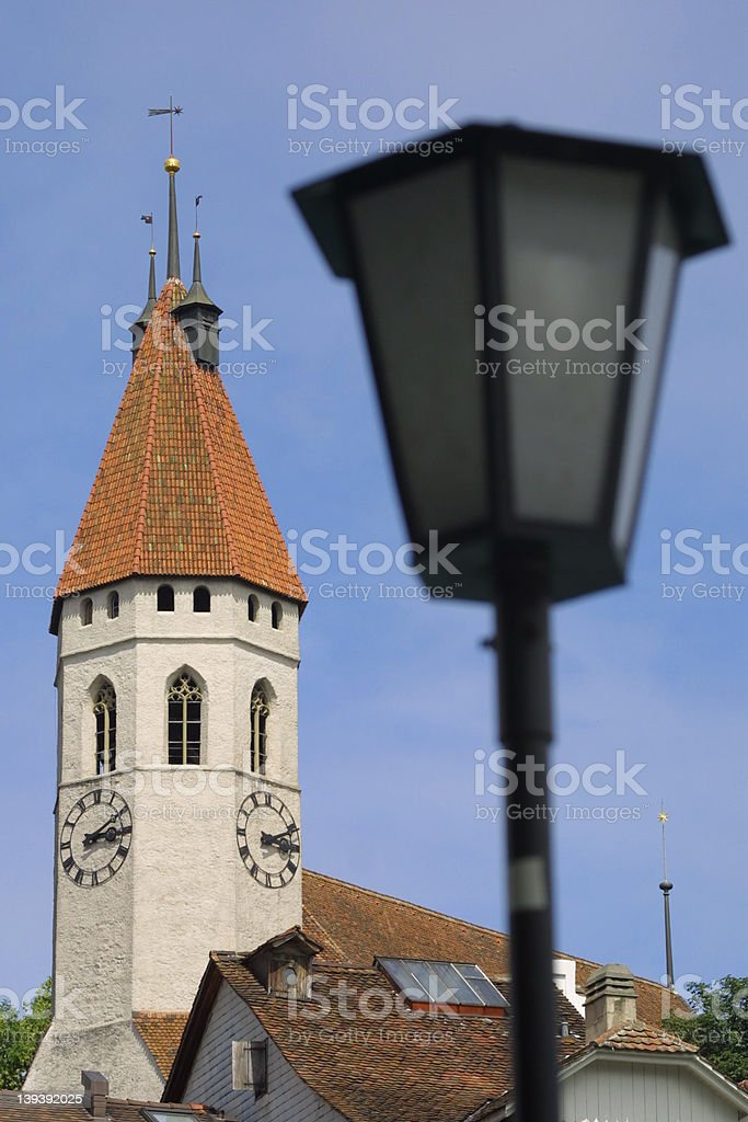 Church in the old town of Thun (Switzerland) royalty-free stock photo
