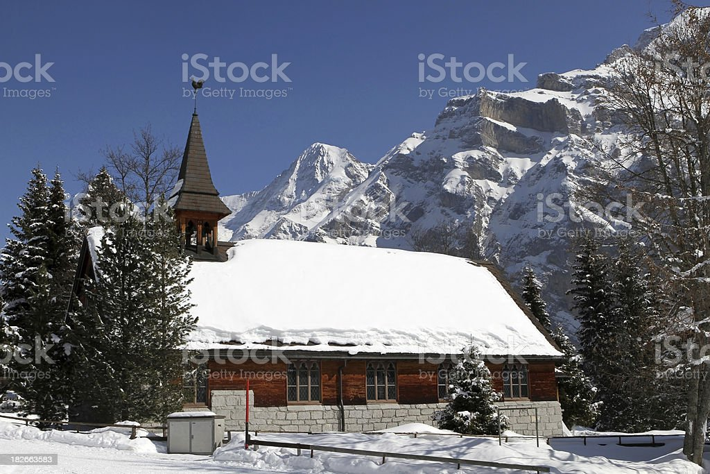 Church in the town of Murren, Berne Canton, Switzerland royalty-free stock photo