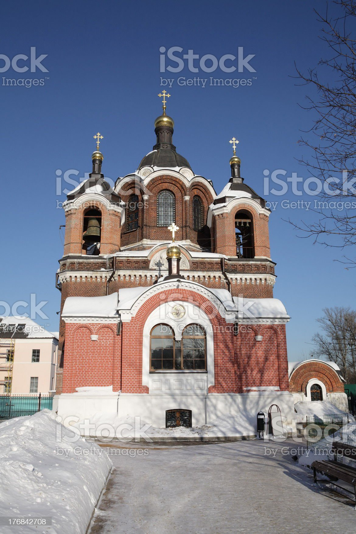 church in the winter daytime royalty-free stock photo
