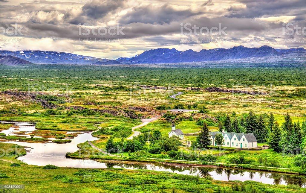Church in Thingvellir National Park - Iceland stock photo