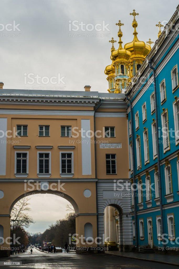Church in  Tsarskoe selo, Pushkin,  Saint Petersburg stock photo