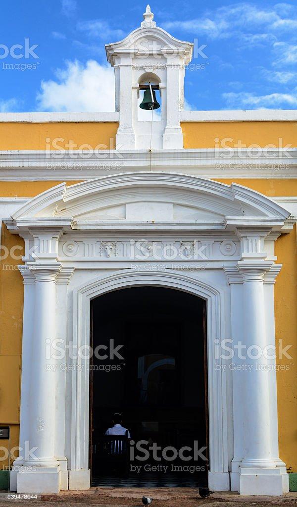 Church inside Castillo San Felipe del Morro stock photo