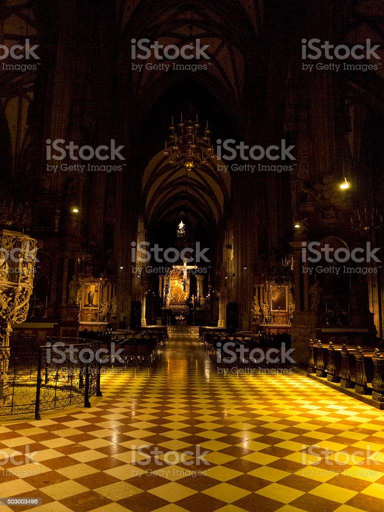 Church Interior at Night stock photo