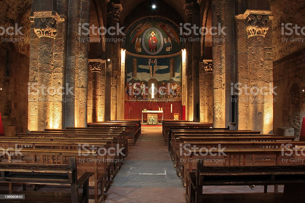 Church interior, Catalonia stock photo