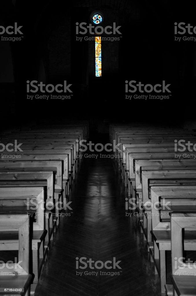 Church interior illuminated stock photo