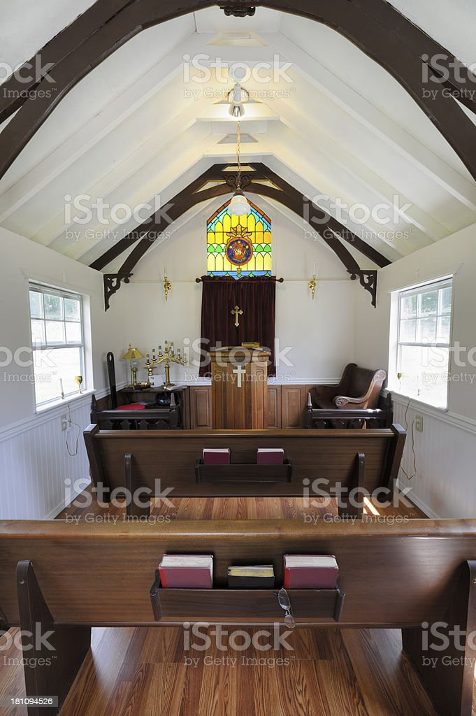 Church Interior, Pews and Pulpit, Empty stock photo