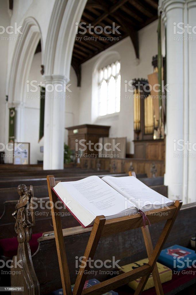 Church interior with gospel stock photo