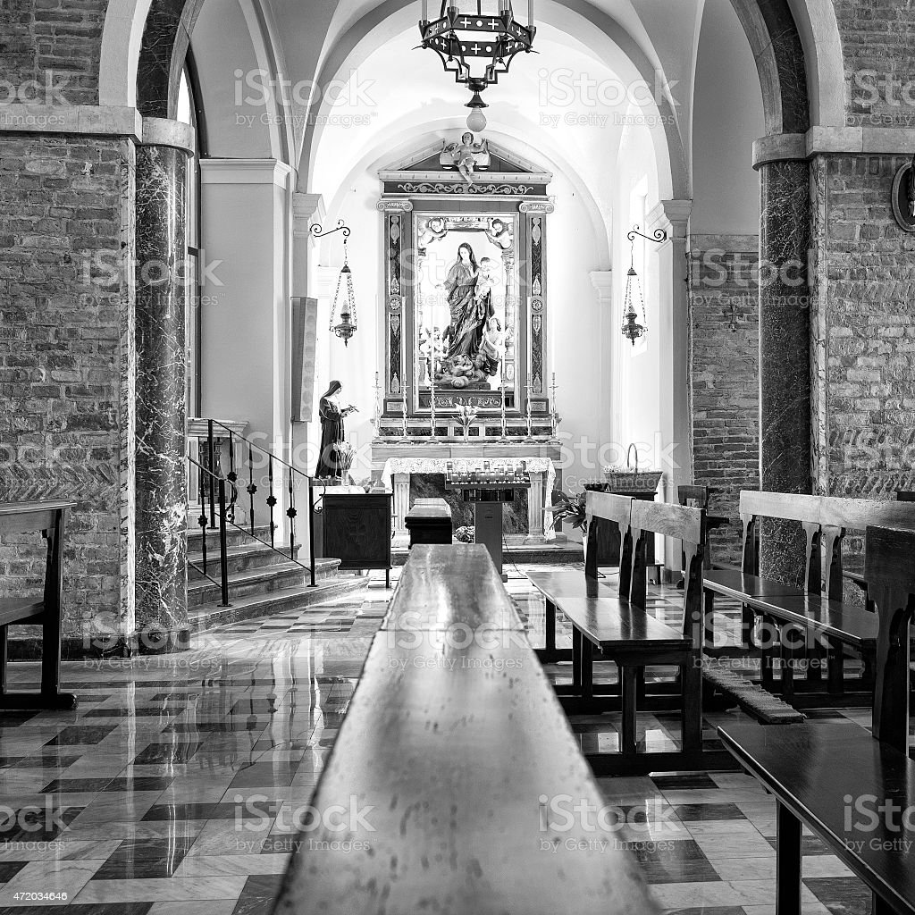 Church internal view. Black and white photo stock photo