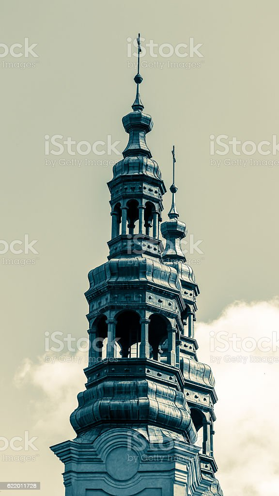 Church iron towers stock photo
