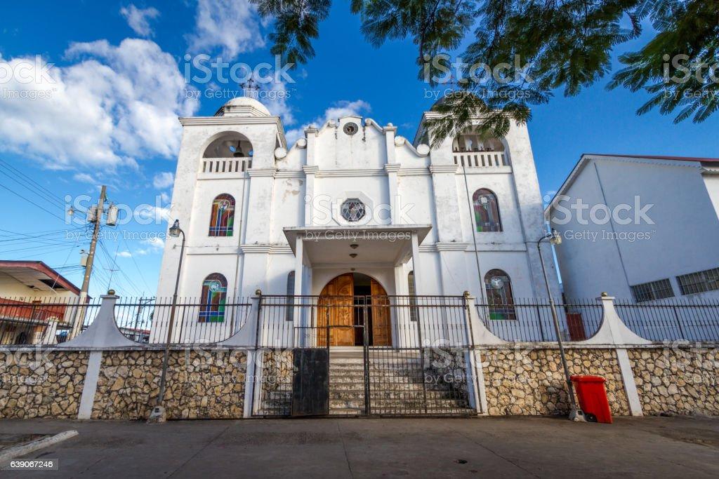 church isla de flores guatemala island central america stock photo