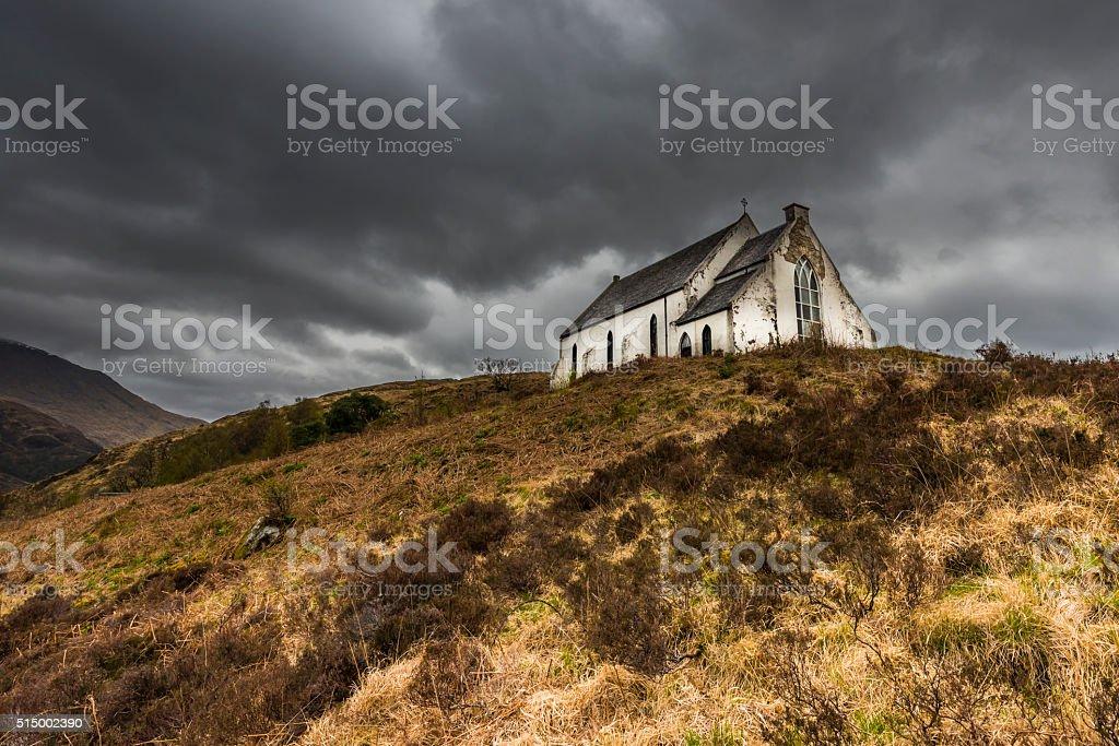 Church Lochailort with Light stock photo