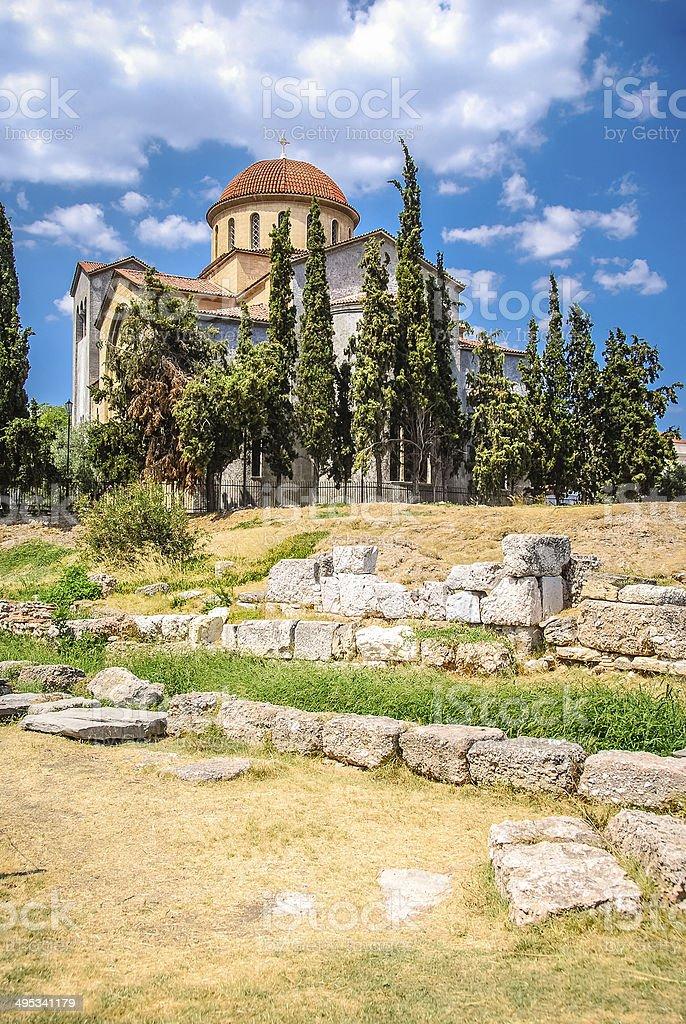 Church of Agia Triada in Athens stock photo