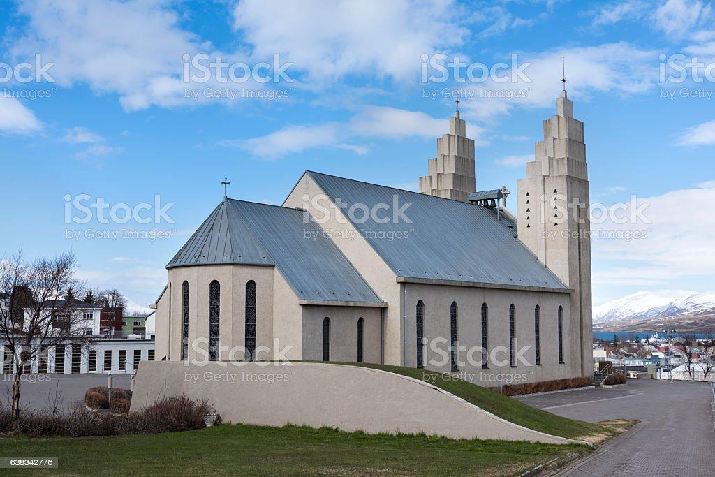 Church of Akureyri stock photo