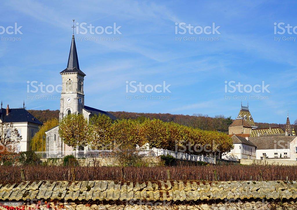 church of Aloxe Corton stock photo