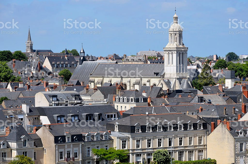 Church of Angers in France stock photo