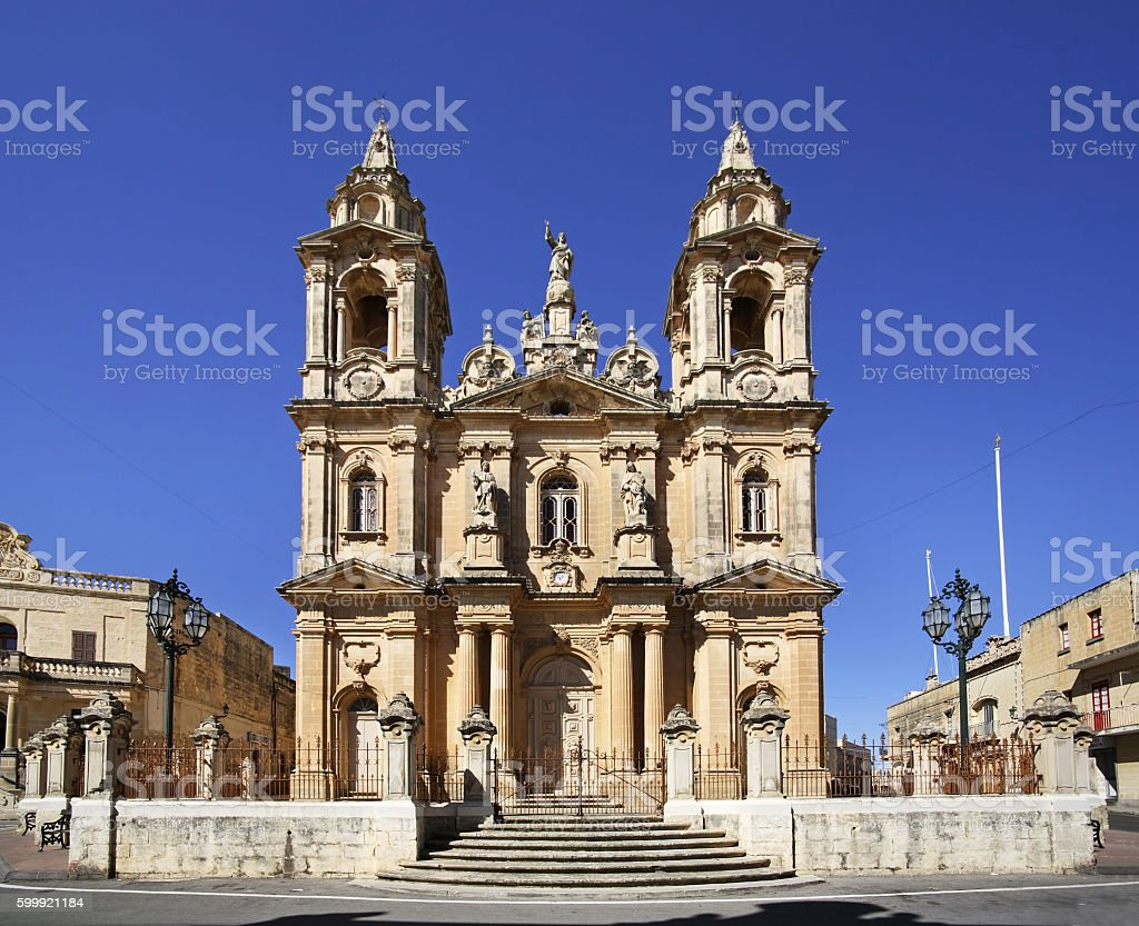 Church of Assumption of Virgin Mary in Gudja. Malta stock photo