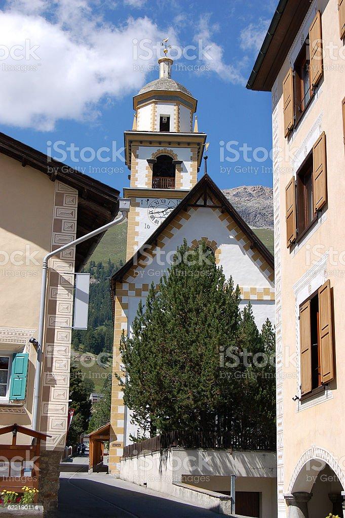 Church of Bel Taimpel - Celerina Switzerland stock photo