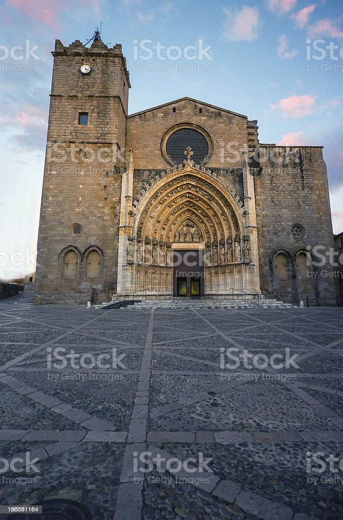 Church of Catellon de Empuries.Catalonia.Spain royalty-free stock photo