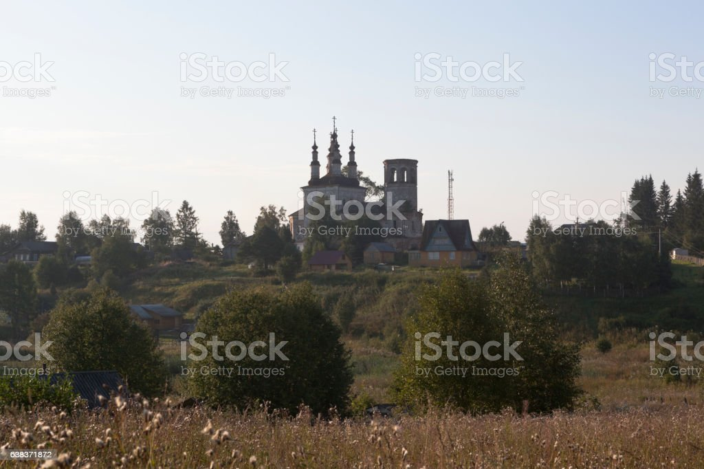 Church of Christ Resurrection at sunrise in village Varnitsy stock photo