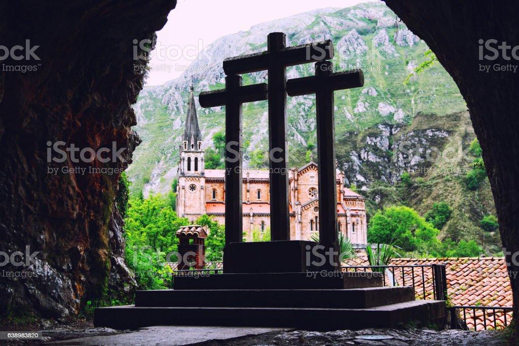 Church of Covadonga view caves, Asturias, Spain stock photo