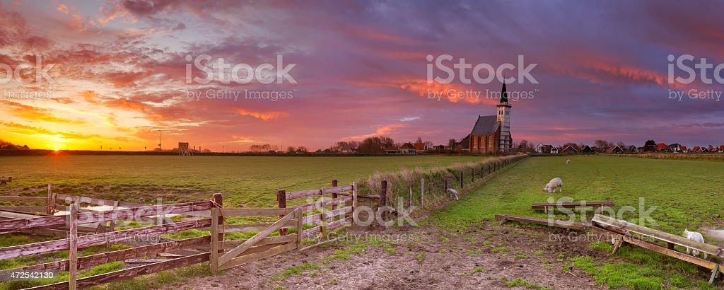 Church of Den Hoorn on Texel island in The Netherlands stock photo