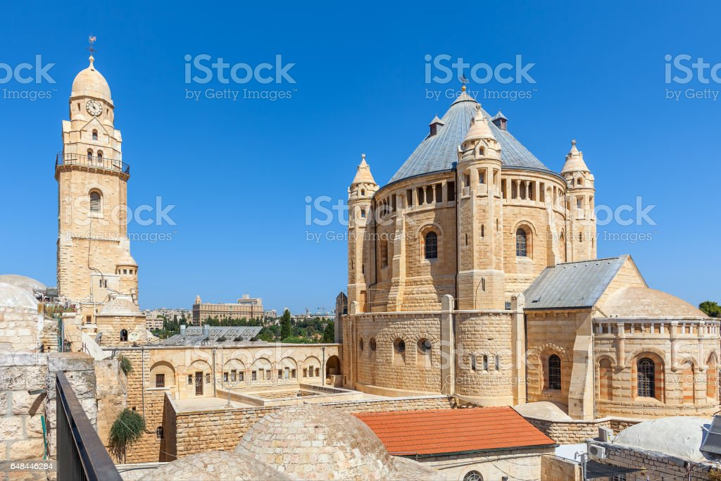 Church of Dormition in Jerusalem. stock photo