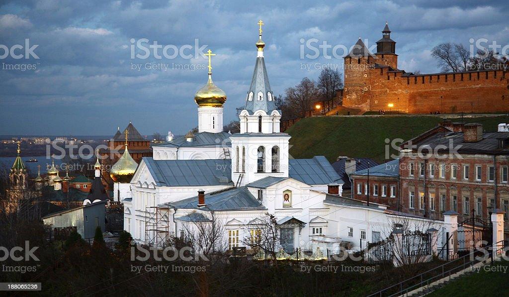 Church of Elijah the Prophet and Kremlin Nizhny Novgorod stock photo