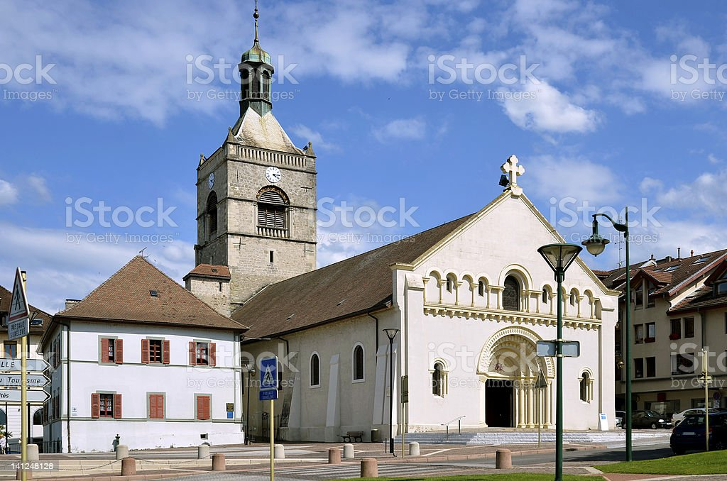 Church of Evian-les-Bains in France stock photo