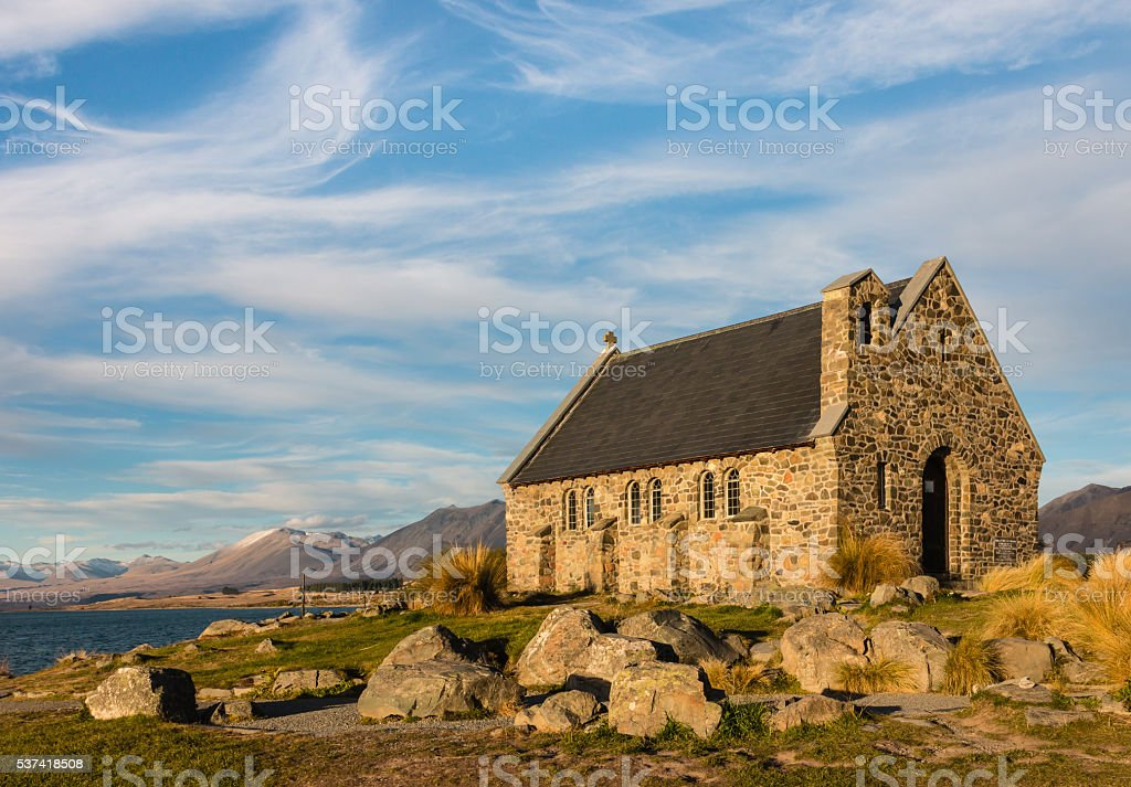 Church of Good Shepherd at Lake Tekapo stock photo