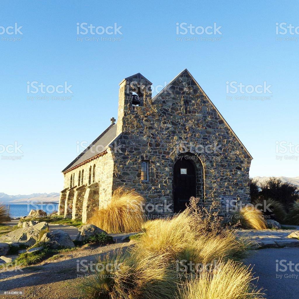 Church of good Shepherd, Lake Tekapo, New Zealand stock photo