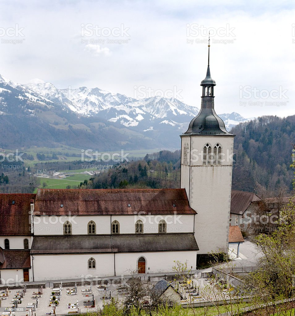 Church of Gruyeres, Switzerland in spring royalty-free stock photo