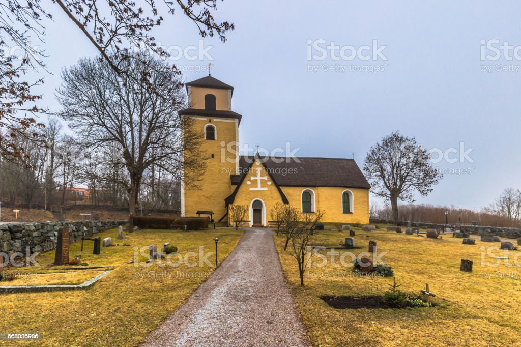 Hatuna, Sweden - April 1, 2017: Church of Haggeby, Sweden stock photo