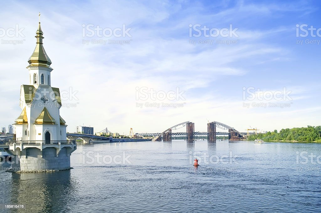 Church of Holy Nicholas Wonderworker on the waters stock photo