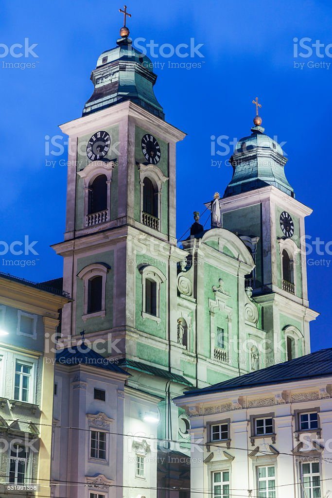 Church of Ignatius in Linz stock photo