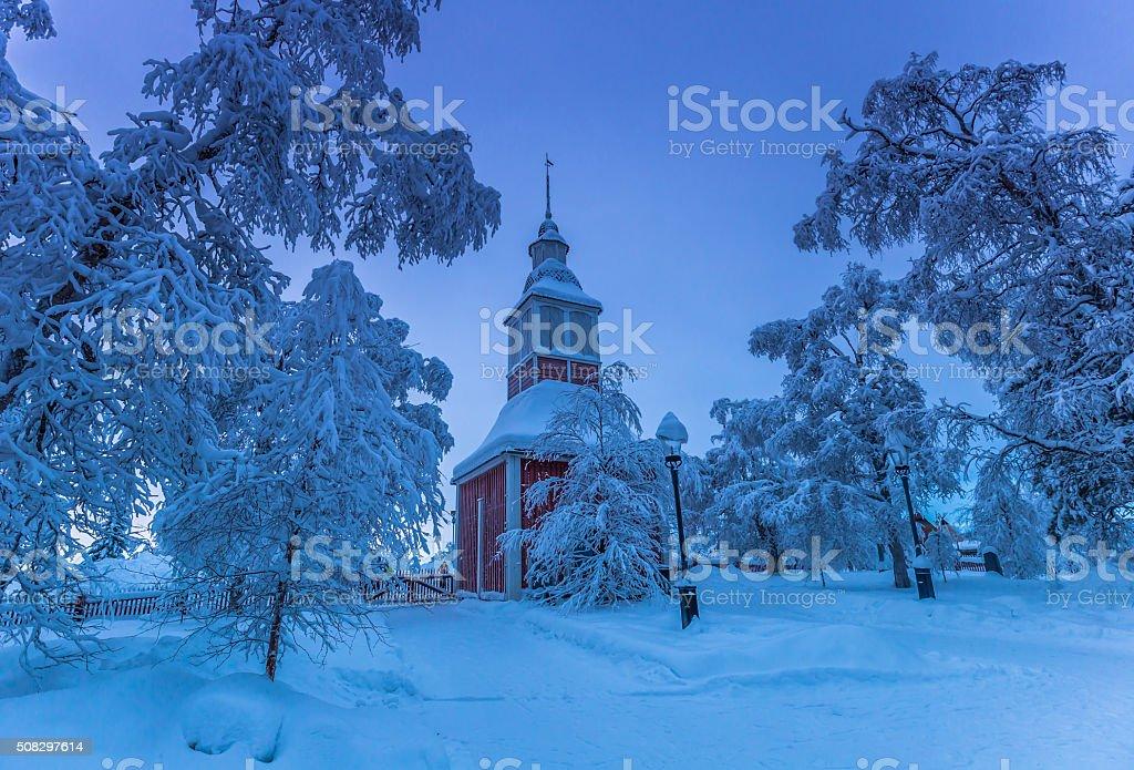 Church Of Jukkasjärvi stock photo