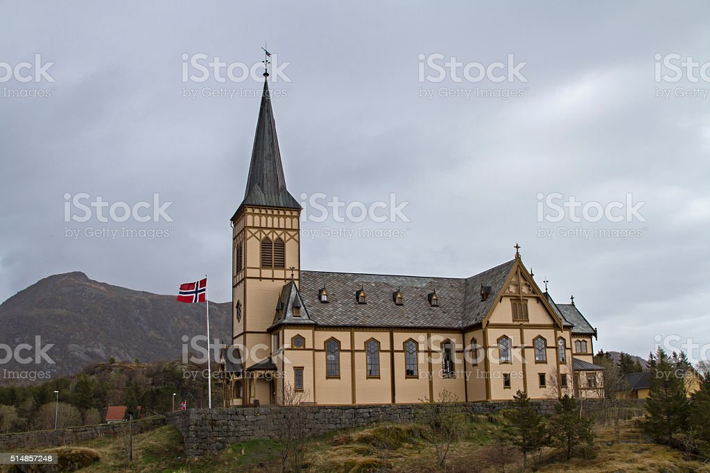 Church of Kabelvag stock photo