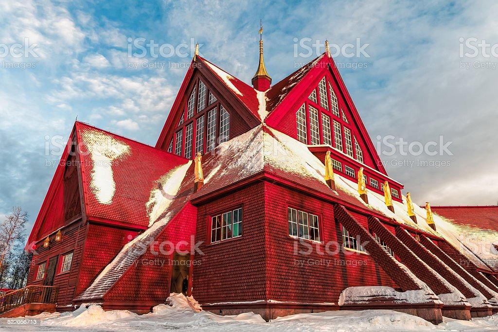 Church of Kiruna in Sweden during arctic winter stock photo